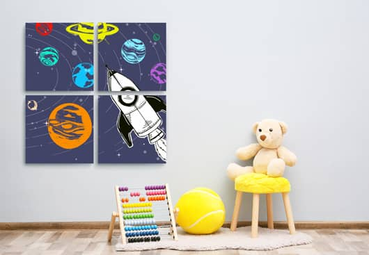 kids wall decor idea with space graphics canvases