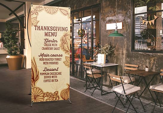 indoor Thanksgiving menu banner in a free-standing style