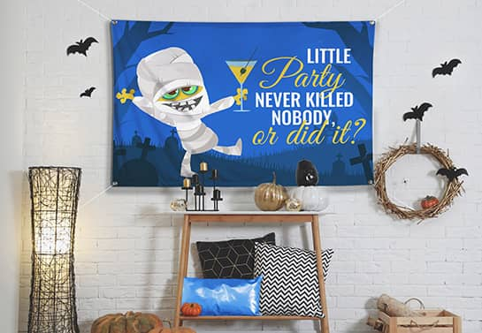 spooky and funny Halloween banner in blue for home celebration