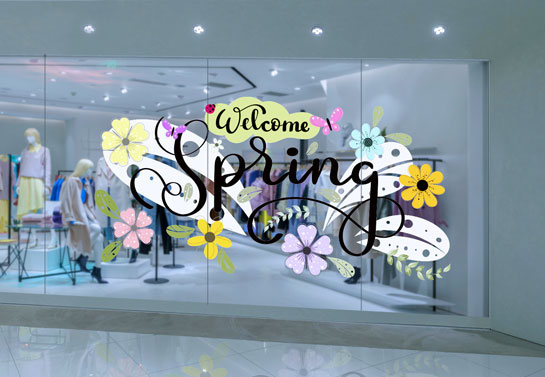 Welcome Spring seasonal window sticker for storefront