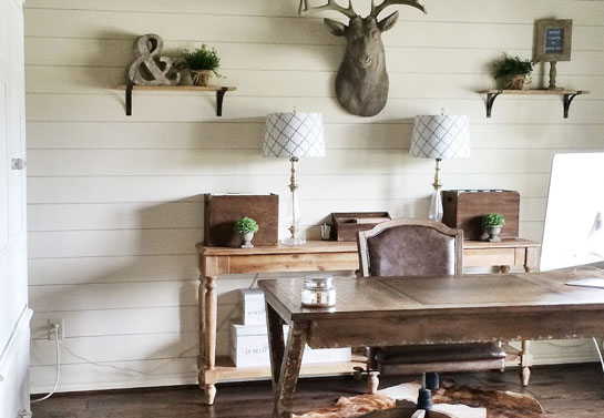 stylish rustic home office with natural elements
