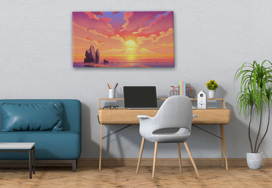 sunset canvas decor for modernizing home office