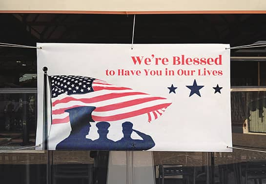 large outdoor Veterans Day thank you display