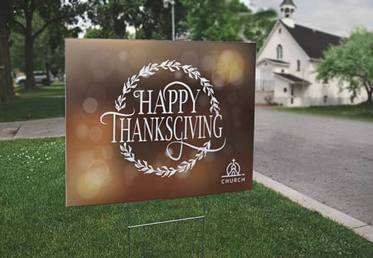 outdoor Thanksgiving church sign displayed in the yard