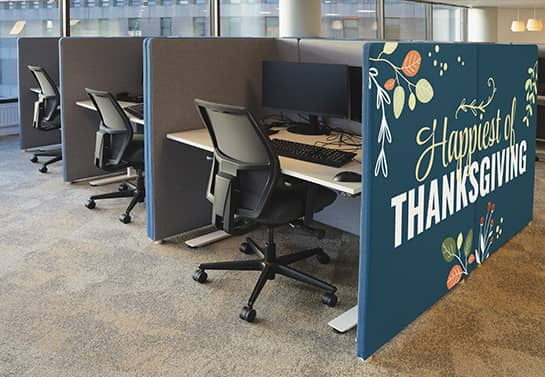 large decorative Happy Thanksgiving sign for the office cubicle