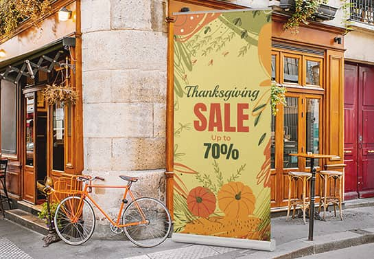 outdoor Thanksgiving Sales banner in a free-standing style