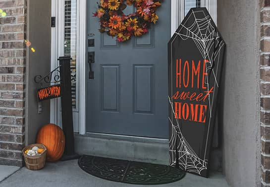 coffin-shaped Halloween porch sign in a big size