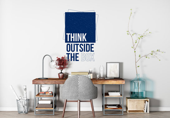 Think Outside The Box wall art for decorating home office space