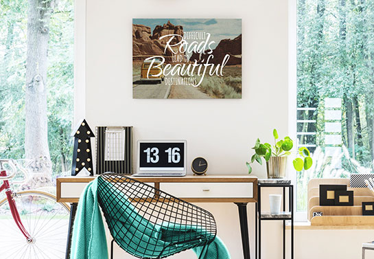 travelling inspired canvas idea with a nature scene and motivating quote