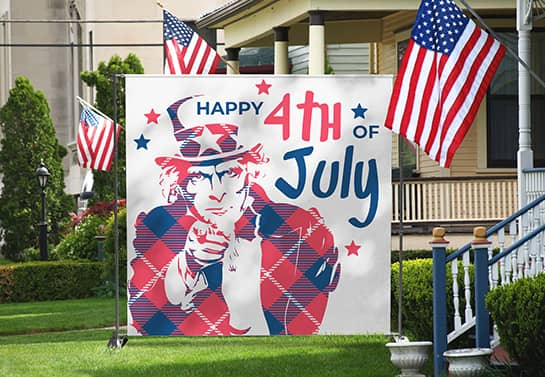 Uncle Sam 4th of July booth idea placed outdoors