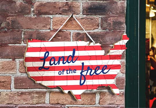 patriotic decor idea in USA map shape displaying the words Land of the Free