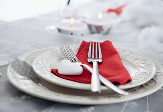 valentine table decoration idea with a red napkin