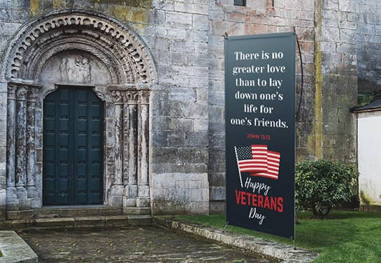 Veterans Day church sign in a dark color displayed outdoors