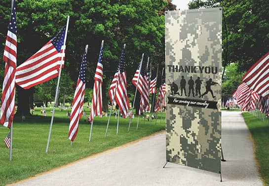 outdoor Veterans Day thank you banner in a military theme