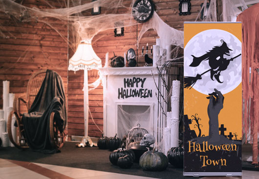 vintage Halloween Town sign in a large size displayed indoors