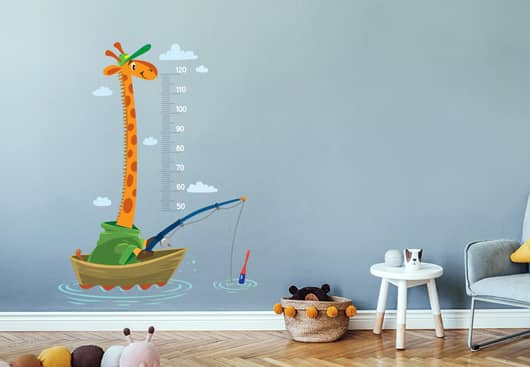 kids room wall decor idea with giraffe themed height measurement scale