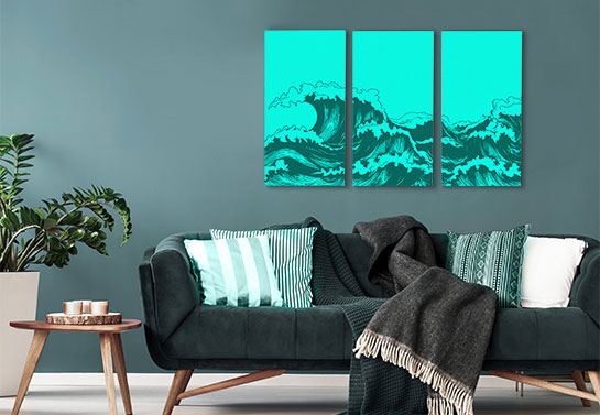 electric blue wave print canvas collage idea on a 3 panel canvas