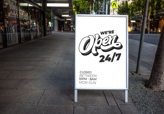 we are open - business hours board