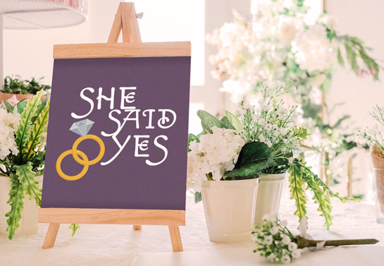 She Said Yes wedding board design idea