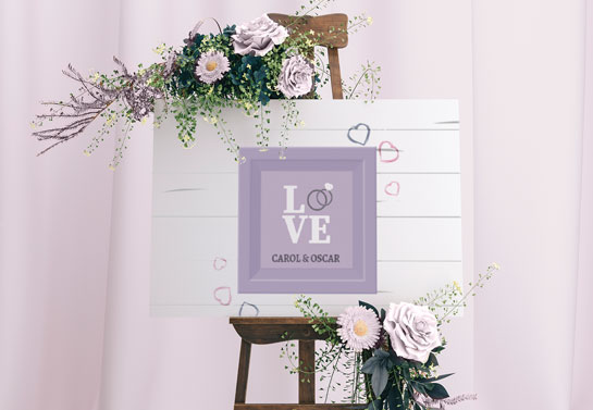 Love romantic purple toned wedding board design idea for indoor space
