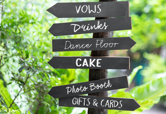 wedding signpost idea in chalkboard style