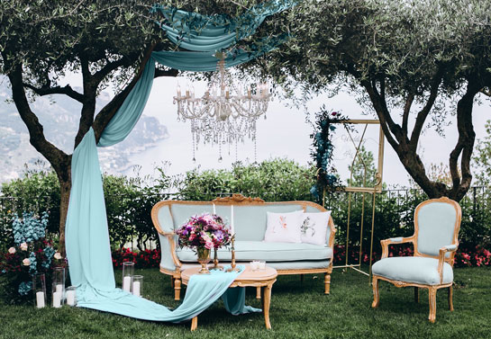backyard wedding lounge area decorations