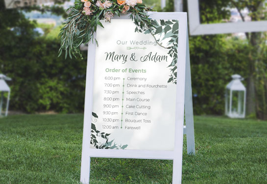 elegant sandwich board for outdoor wedding decoration