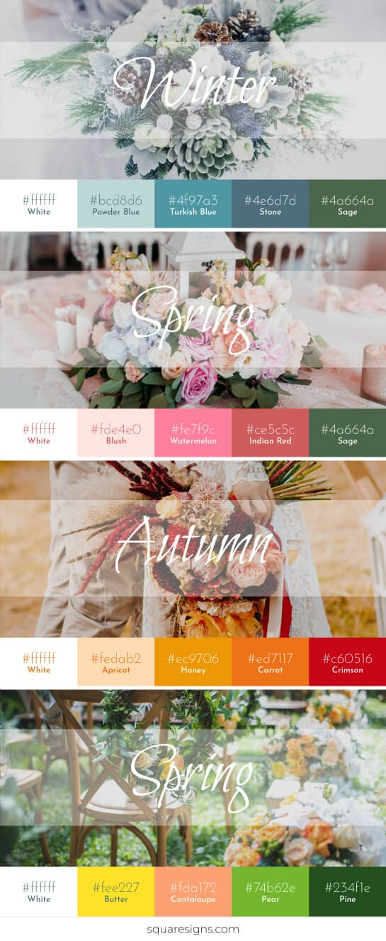 wedding sign decor color trend chart with color codes