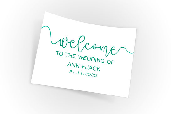 Welcome to the Wedding of Ann+Jack sign idea