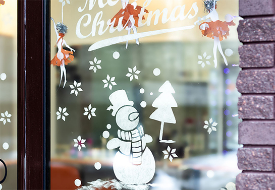 white christmas window decoration idea