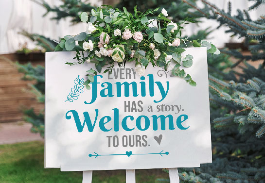 white wedding welcome sign idea with a family quote