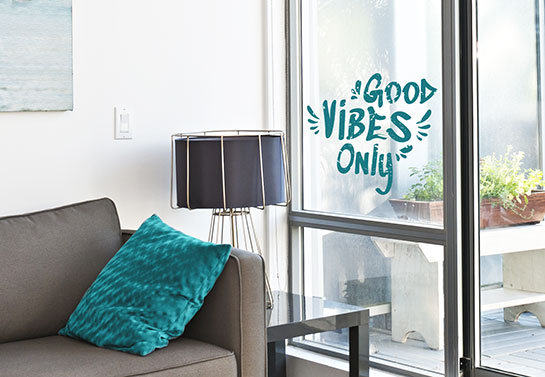 home office spare room decorating idea for the window with a motivational quote print