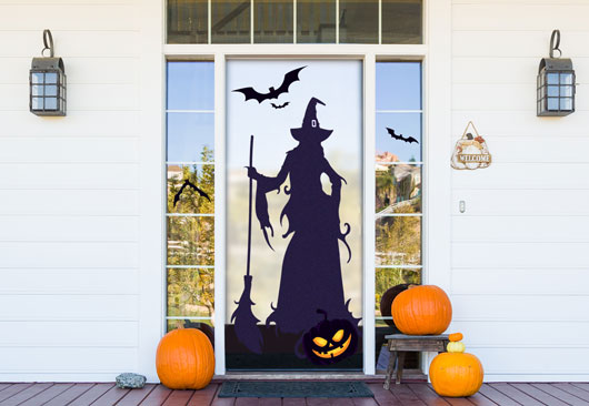 scary Halloween sign with a black witch silouette