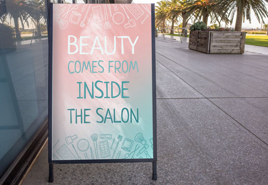 Beauty Comes From Inside The Salon funny sidewalk sign idea