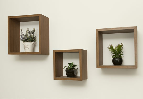 wooden box shelves easy DIY project for living room