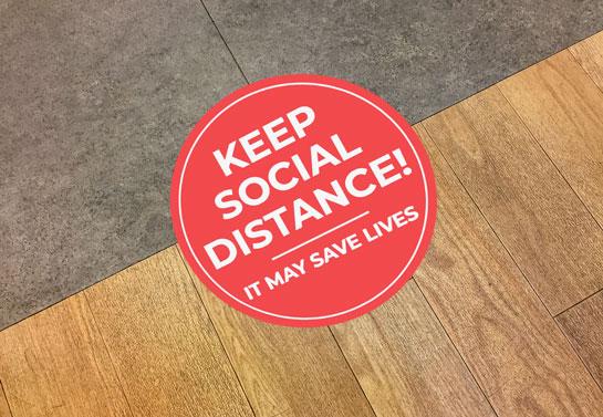 workspace keep social distance sticker