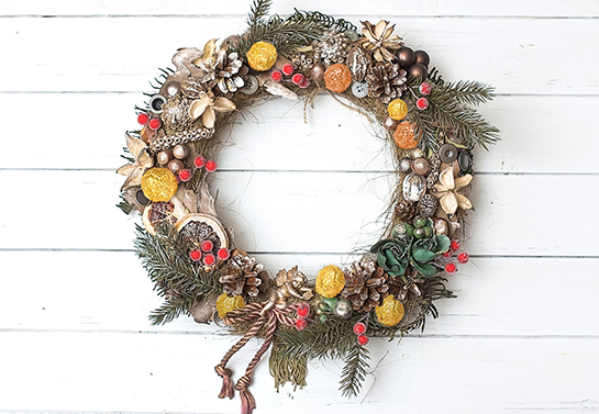wreath covered with candies christmas decoration idea