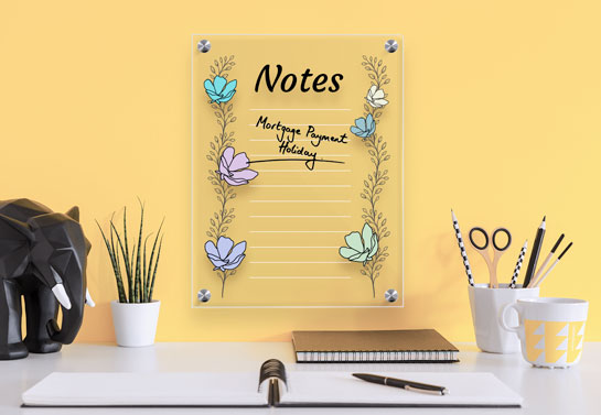 home office in yellow color with a cute acrylic dry erase board