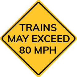 Trains are permitted to travel at speeds exceeding 80 mph sign