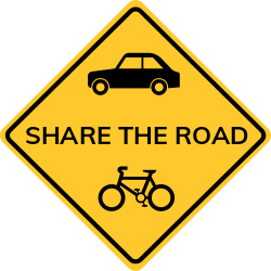 Share the road sign warns motorists to share the road with bicyclists