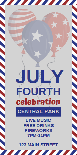 4th Of July Celebration At The Central Park Changeable Template