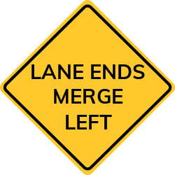 Warning sign to make sure drivers know about merging lanes