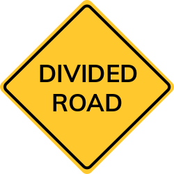 Divided road sign | Shows highway splited into two separate roadways