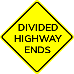 Divided highway ends sign | Shows the ending of a road 500 feet ahead