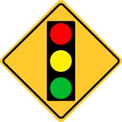 Traffic signal | Traffic signals at intersection ahead. Slow down!