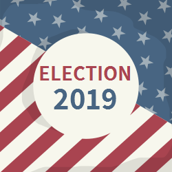 Elections | Written in the Middle of the Circle on USA Flag Background