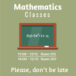 Mathematics class | Green blackboard with exercises written on