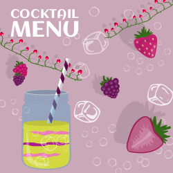 Cocktail Menu | Cocktail Pot with Strawberries and Raspberries
