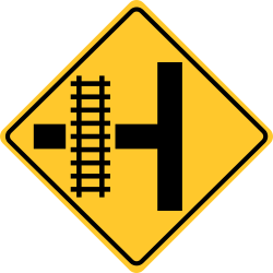 Railroad intersection sign warns about approaching intersection