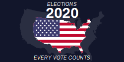 Elections 2020 Every Vote Counts Capital Us Flag On Black